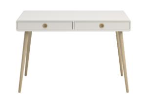 SOFTLINE, https://konsimo.pl/kolekcja/softline/ Skandynawskie biurko na nóżkach białe biały/dąb - zdjęcie