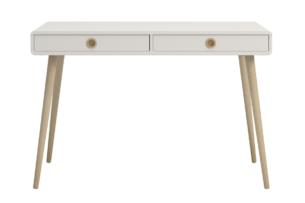 SOFTLINE, https://konsimo.pl/kolekcja/softline/ Skandynawskie duże biurko na nóżkach białe biały/dąb - zdjęcie
