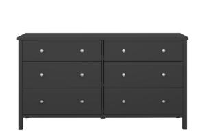 TROMSÖ, https://konsimo.pl/kolekcja/tromso/ Prosta duża komoda z szufladami czarna czarny - zdjęcie