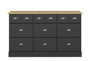 NOLA, https://konsimo.pl/kolekcja/nola/ Duża komoda w stylu prowansalskim czarna czarny/sosna - zdjęcie