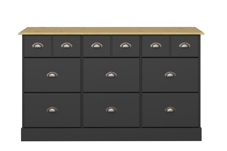 NOLA Duża komoda w stylu prowansalskim czarna czarny/sosna - zdjęcie 0