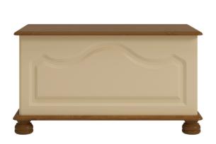 RICHMOND, https://konsimo.pl/kolekcja/richmond/ Skrzynia na pościel sosna kremowa kremowy/sosna lakierowana bejcowana - zdjęcie