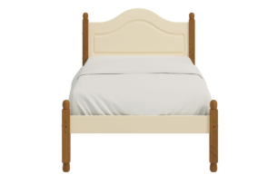RICHMOND, https://konsimo.pl/kolekcja/richmond/ Rama łóżka 90x200 sosna kremowa kremowy/sosna lakierowana bejcowana - zdjęcie