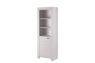 SAMBU, https://konsimo.pl/kolekcja/sambu/ Minimalistyczna witryna szklana wzór drewna biała biały - zdjęcie