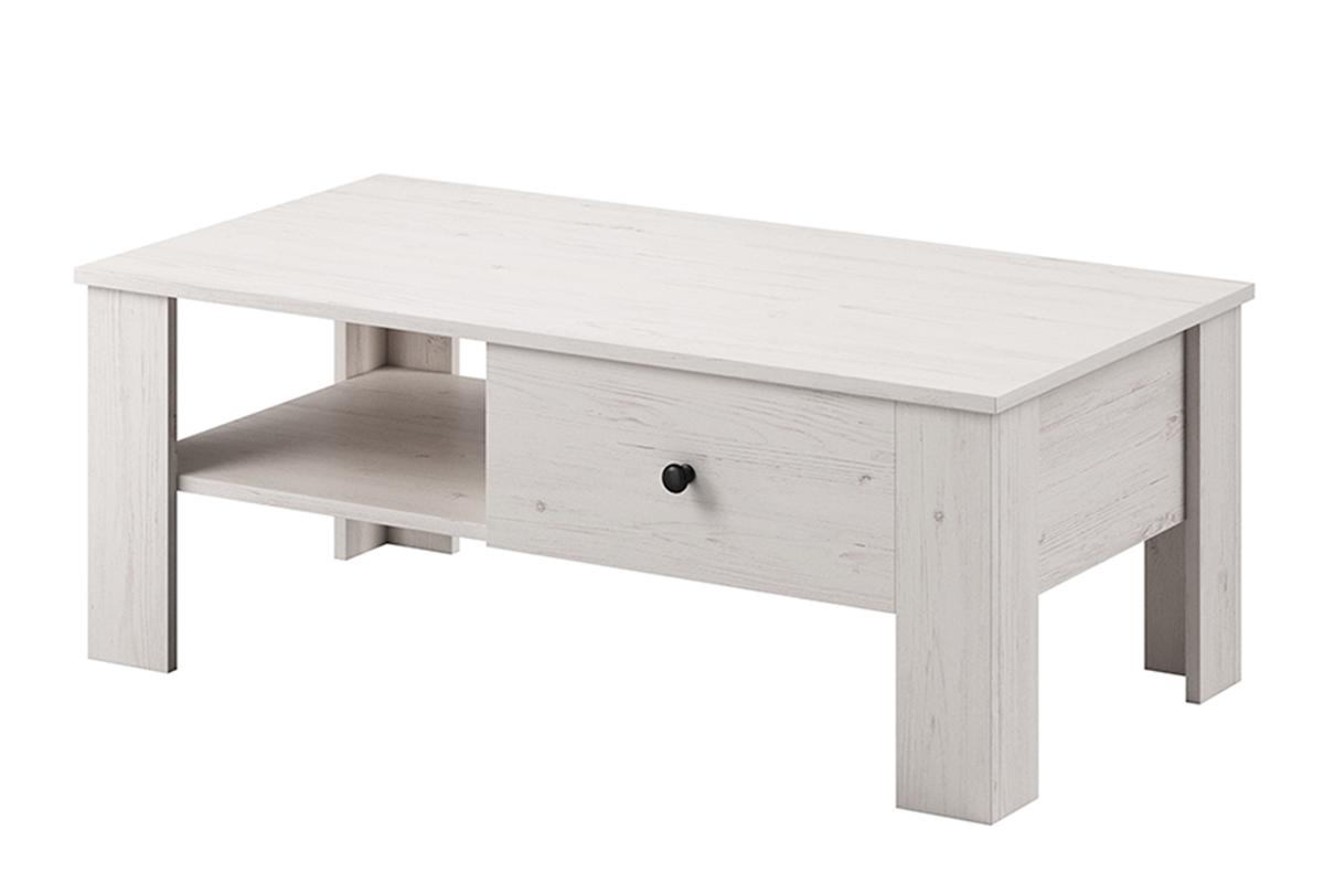 Minimalistyczny stolik kawowy wzór drewna biały