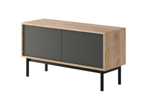 VARIA, https://konsimo.pl/kolekcja/varia/ Mała szafka pod tv loft antracytowy/dąb - zdjęcie