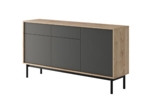 VARIA, https://konsimo.pl/kolekcja/varia/ Duża komoda z półkami loft antracytowy/dąb - zdjęcie