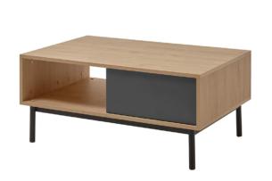 VARIA, https://konsimo.pl/kolekcja/varia/ Stolik kawowy z szufladą loft antracytowy/dąb - zdjęcie