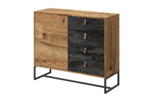 RUGO, https://konsimo.pl/kolekcja/rugo/ Mała komoda z szufladami loft ciemny dąb/czarny - zdjęcie