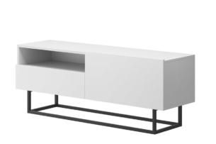 MORIO, https://konsimo.pl/kolekcja/morio/ Nowoczesna szafka rtv z szufladą biała biały - zdjęcie