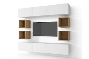 MORIO, https://konsimo.pl/kolekcja/morio/ Zestaw nowoczesne meble do salonu 10 elementów dębowe biały/dąb naturalny - zdjęcie