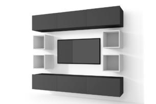 MORIO, https://konsimo.pl/kolekcja/morio/ Zestaw nowoczesne meble do salonu 10 elementów grafitowe, białe grafitowy/biały - zdjęcie