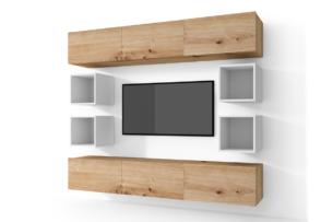MORIO, https://konsimo.pl/kolekcja/morio/ Zestaw nowoczesne meble do salonu 10 elementów dębowe, białe dąb naturalny/biały - zdjęcie