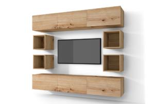MORIO, https://konsimo.pl/kolekcja/morio/ Zestaw nowoczesne meble do salonu 10 elementów dębowe dąb naturalny - zdjęcie