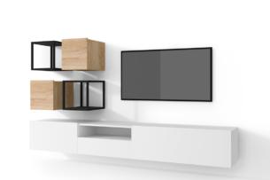 MORIO, https://konsimo.pl/kolekcja/morio/ Zestaw nowoczesne meble do salonu 6 elementów białe, dębowe biały/dąb naturalny - zdjęcie