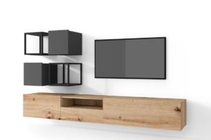 MORIO, https://konsimo.pl/kolekcja/morio/ Zestaw nowoczesne meble do salonu 6 elementów grafitowe, dębowe dąb naturalny/grafitowy - zdjęcie