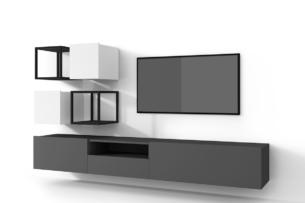MORIO, https://konsimo.pl/kolekcja/morio/ Zestaw nowoczesne meble do salonu 6 elementów białe, grafitowe grafitowy/biały - zdjęcie