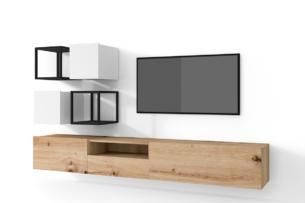 MORIO, https://konsimo.pl/kolekcja/morio/ Zestaw nowoczesne meble do salonu 6 elementów białe, dębowe dąb naturalny/biały - zdjęcie