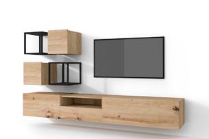 MORIO, https://konsimo.pl/kolekcja/morio/ Zestaw nowoczesne meble do salonu 6 elementów dębowe dąb naturalny - zdjęcie