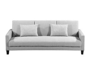 GRIFO, https://konsimo.pl/kolekcja/grifo/ Rozkładana sofa 3 osobowa z dodatkowymi poduszkami jasnoszara jasny szary - zdjęcie
