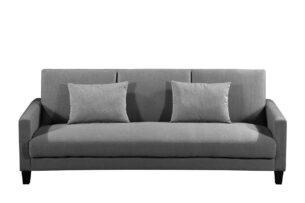GRIFO, https://konsimo.pl/kolekcja/grifo/ Rozkładana sofa 3 osobowa z dodatkowymi poduszkami szara ciemny szary - zdjęcie