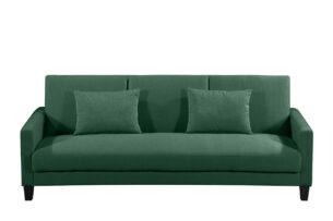 GRIFO, https://konsimo.pl/kolekcja/grifo/ Rozkładana sofa 3 osobowa z dodatkowymi poduszkami butelkowa zieleń zielony - zdjęcie