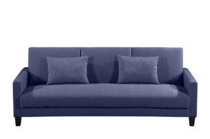 GRIFO, https://konsimo.pl/kolekcja/grifo/ Rozkładana sofa 3 osobowa z dodatkowymi poduszkami granat granatowy - zdjęcie