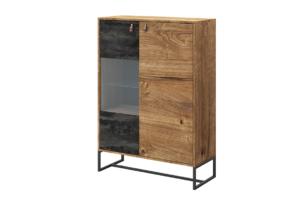 RUGO, https://konsimo.pl/kolekcja/rugo/ Wysoka komoda z półkami loft ciemny dąb/czarny - zdjęcie