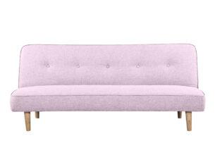 HORBI, https://konsimo.pl/kolekcja/horbi/ Sofa z guzikami rozkładana na drewnianych nóżkach różowa różowy - zdjęcie
