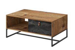 RUGO, https://konsimo.pl/kolekcja/rugo/ Duży stolik kawowy loft ciemny dąb/czarny - zdjęcie