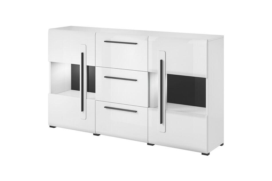TULSA Komoda z witryną 180 cm w stylu modern biały połysk biały połysk - zdjęcie 0