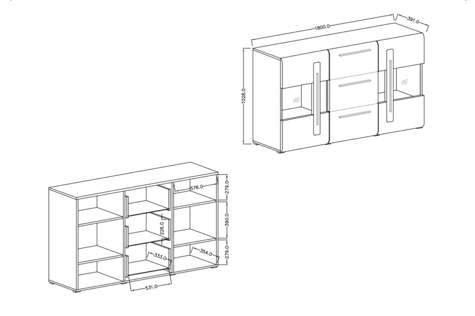TULSA Komoda z witryną 180 cm w stylu modern biały połysk biały połysk - zdjęcie 6