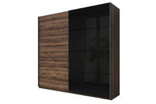 GALAXY, https://konsimo.pl/kolekcja/galaxy/ Szafa ubraniowa 200 cm przesuwna w stylu industrialnym dąb / czarna dąb monastery/czarny - zdjęcie