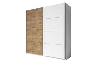 GALAXY, https://konsimo.pl/kolekcja/galaxy/ Szafa ubraniowa 200 cm przesuwna w stylu industrialnym biała / jasny dąb biały/jasny dąb - zdjęcie