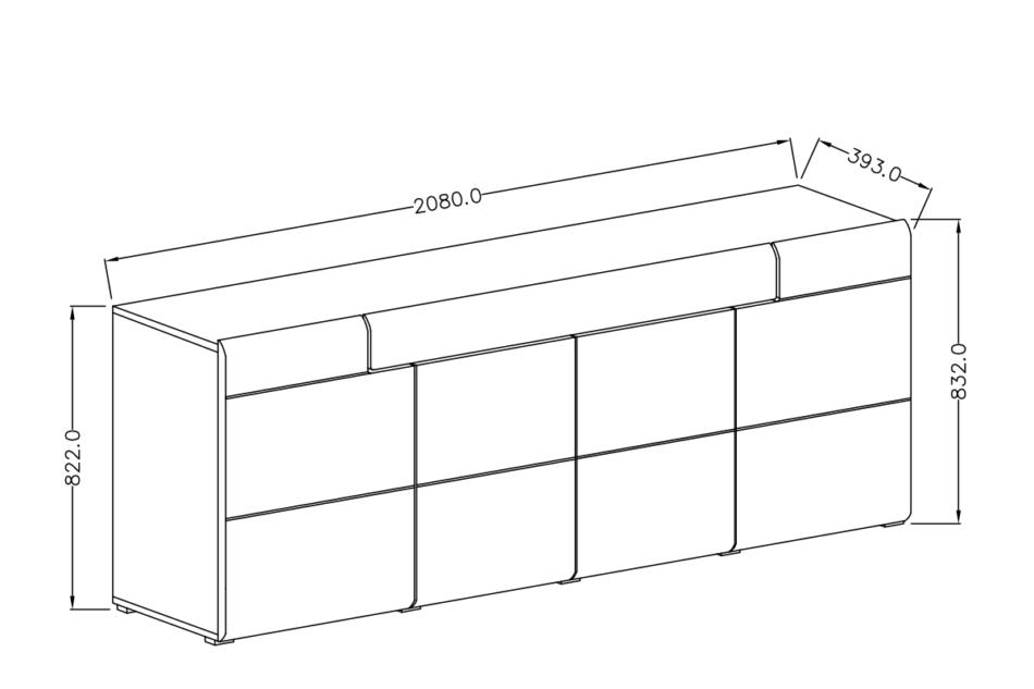 TOLEDO Nowoczesna pojemna komoda półki i szuflady szara  antracyt/dąb grandson - zdjęcie 2
