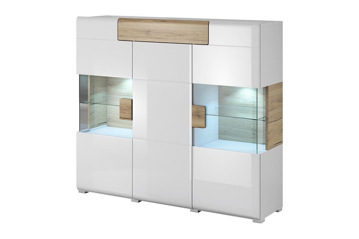 Nowoczesna duża komoda z witryną półki i szuflady biała