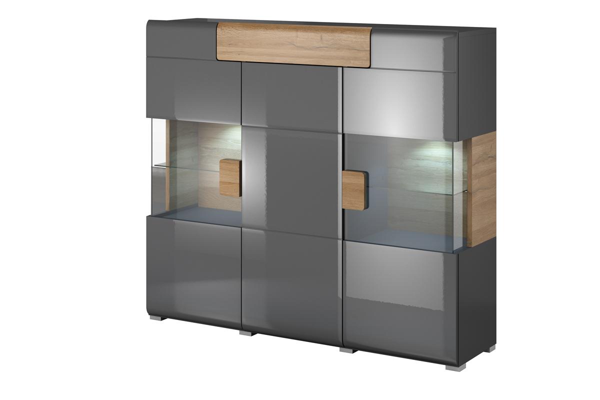 Nowoczesna duża komoda z witryną półki i szuflady szara