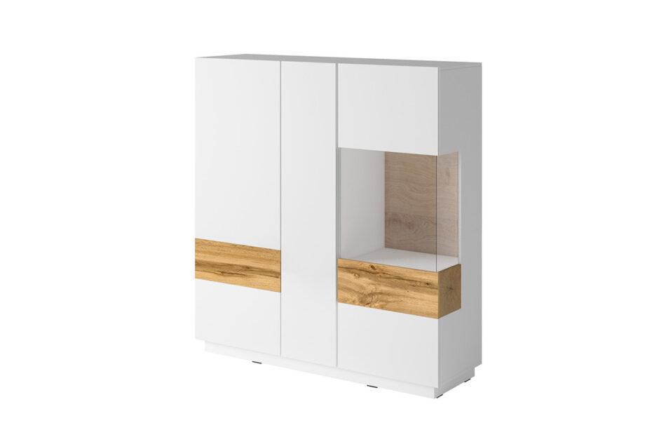 SILKE Podwójna komoda z witryną 130 cm modern biała / dąb biały połysk/dąb wotan - zdjęcie 0