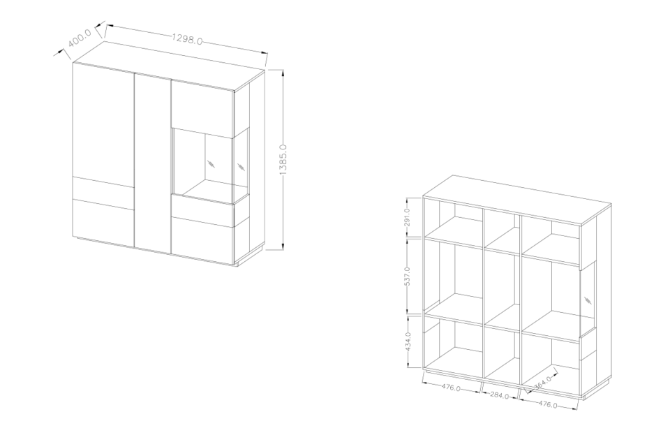 SILKE Podwójna komoda z witryną 130 cm modern biała / dąb biały połysk/dąb wotan - zdjęcie 5