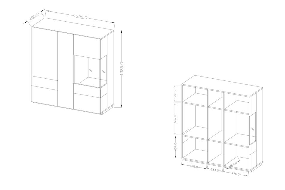 SILKE Podwójna komoda z witryną 130 cm modern biała / szara biały połysk/szary - zdjęcie 2