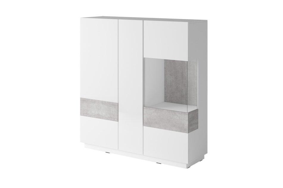 SILKE Podwójna komoda z witryną 130 cm modern biała / szara biały połysk/szary - zdjęcie 0