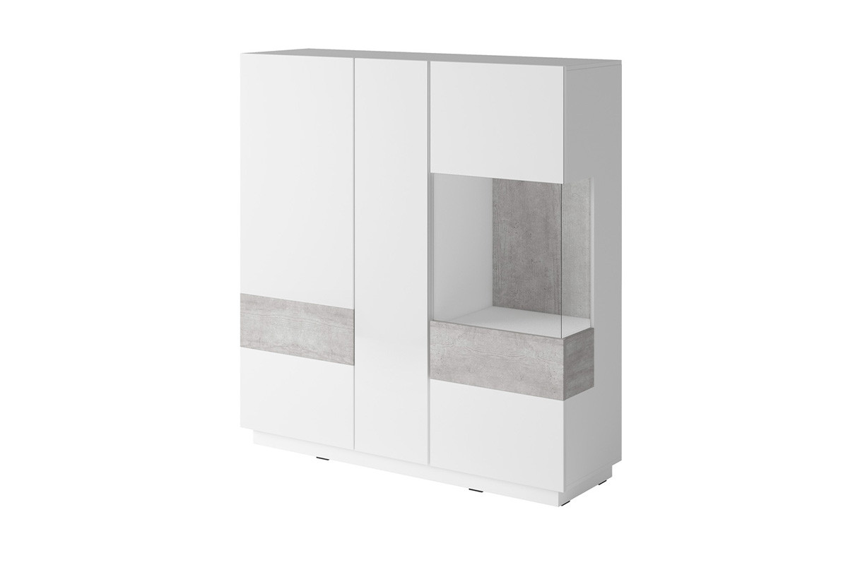 Podwójna komoda z witryną 130 cm modern biała / szara
