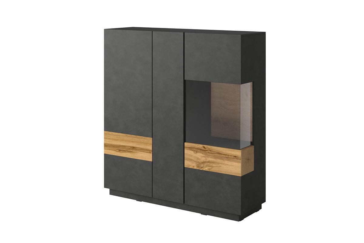 Podwójna komoda z witryną 130 cm modern antracytowa / dąb