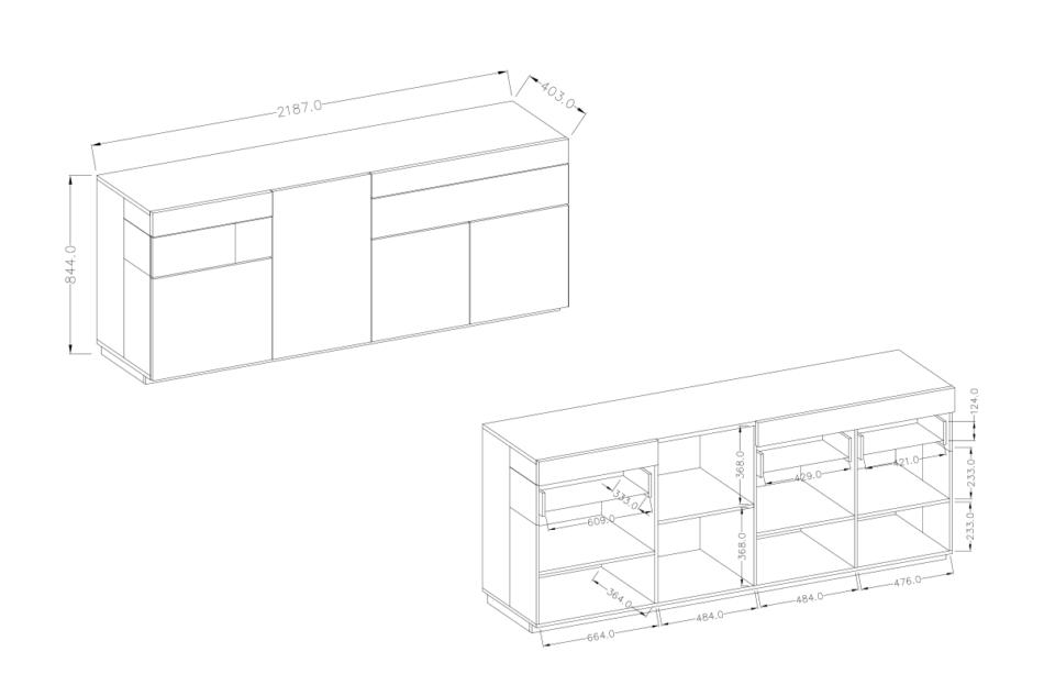 SILKE Duża komoda 220 cm z półkami modern biała / dąb biały połysk/dąb wotan - zdjęcie 5