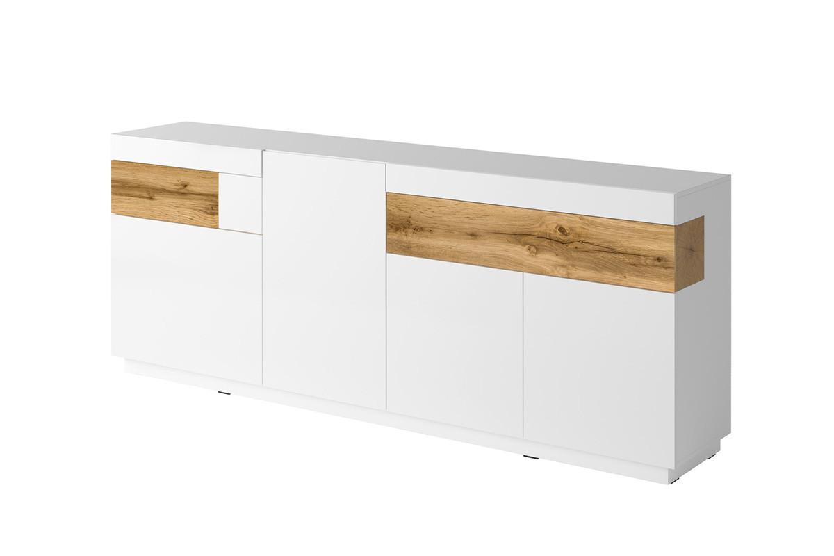 Duża komoda 220 cm z półkami modern biała / dąb