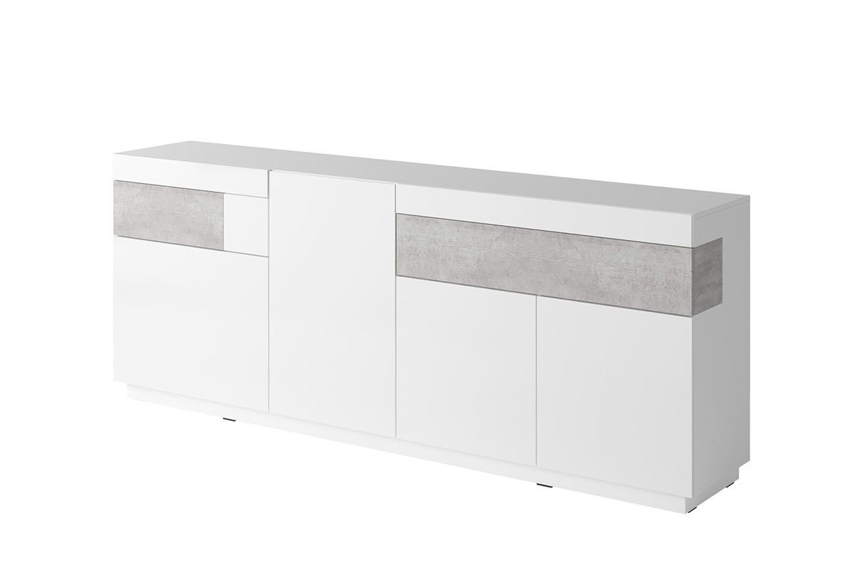 Duża komoda 220 cm z półkami modern biała / szara