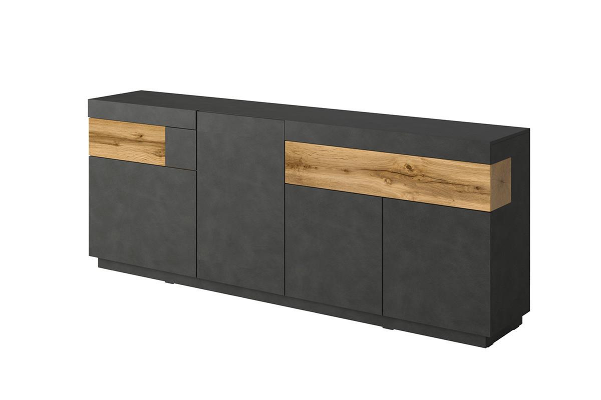 Duża komoda 220 cm z półkami modern antracytowa / dąb