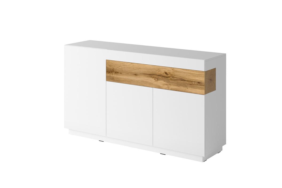 Komoda 150 cm z półkami modern biała / dąb