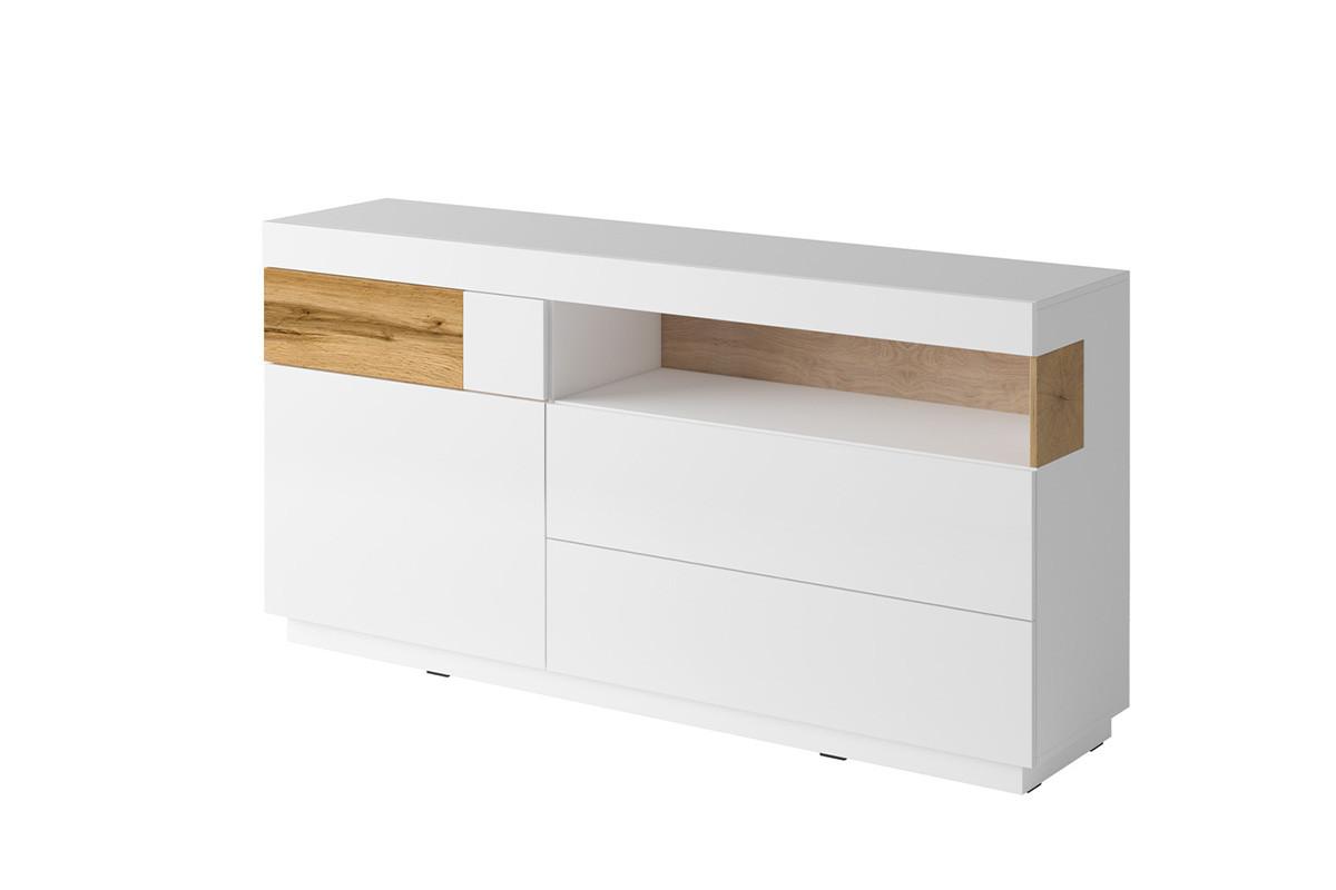 Komoda z witryną 170 cm z półkami i szufladami modern biała / dąb