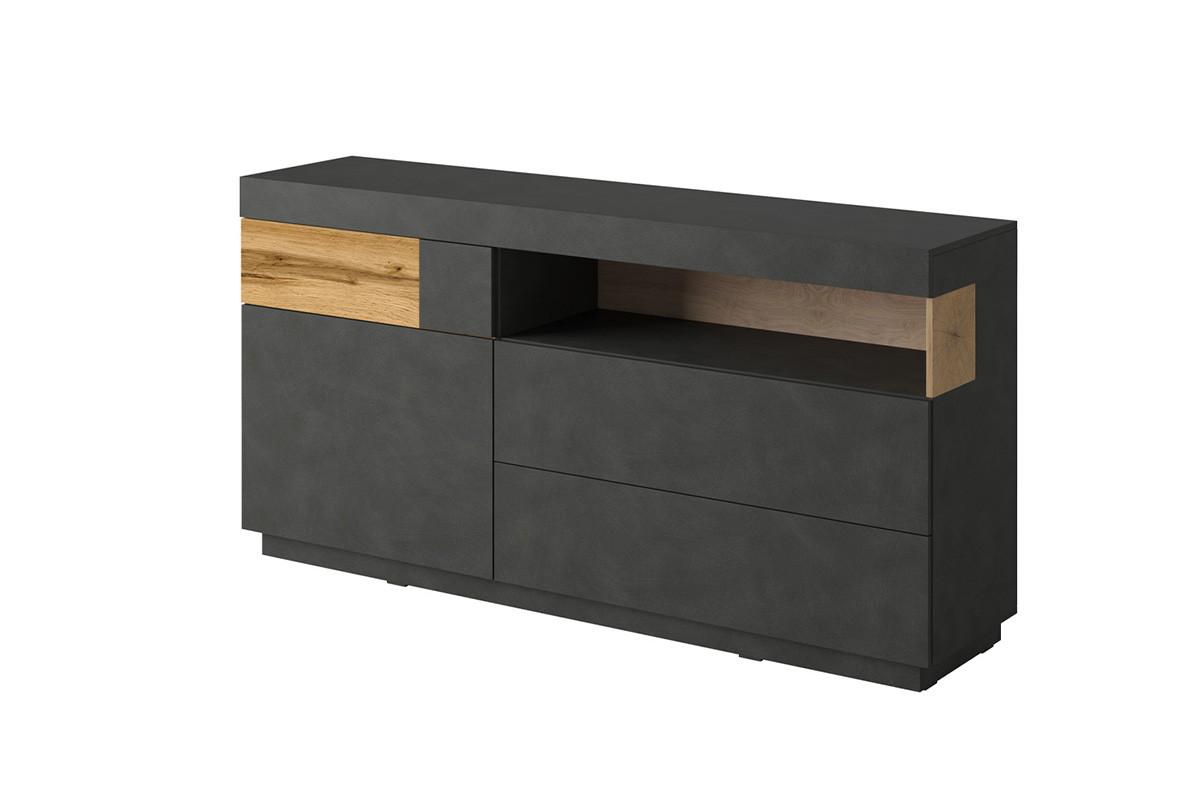 Komoda z witryną 170 cm z półkami i szufladami modern antracytowa / dąb